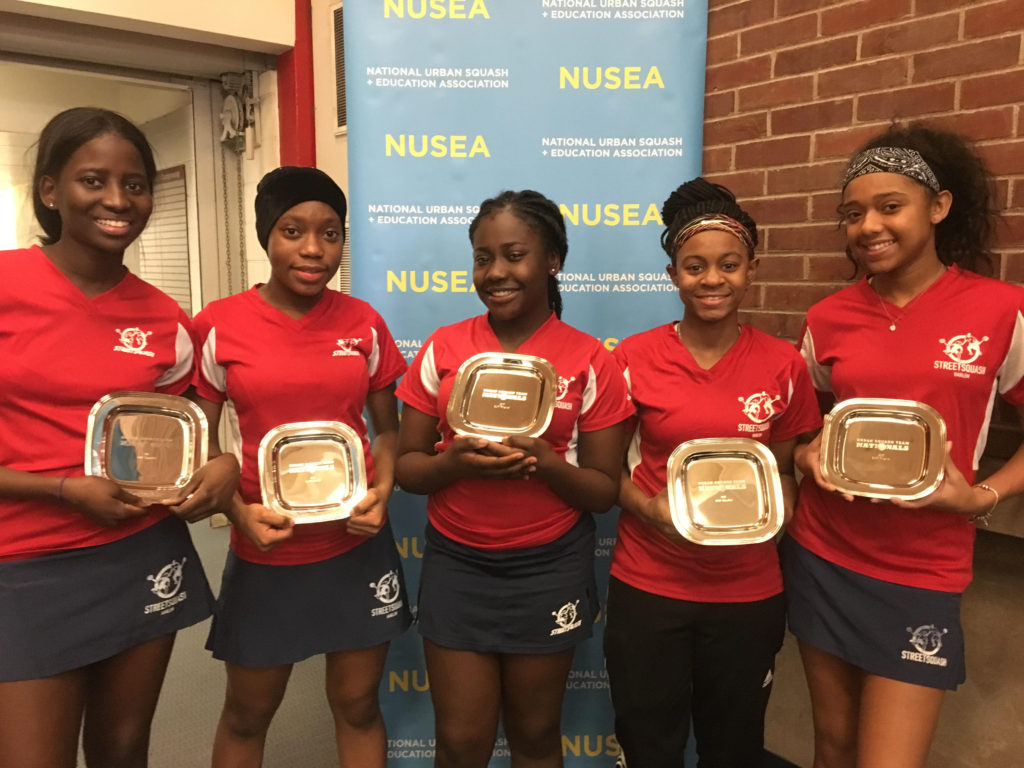Day 3: Fatou '18, Zeinab '19, Harriet '17, Ajayla '18 and Kianna '18 display their hard-earned runner-up plates from the GU17 Division.