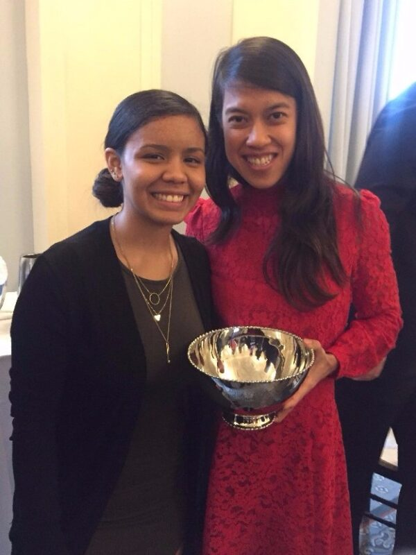 StreetSquash alumna, Jazmin Matos, with the TOC Women's Leadership Luncheon honoree, Nicol David.